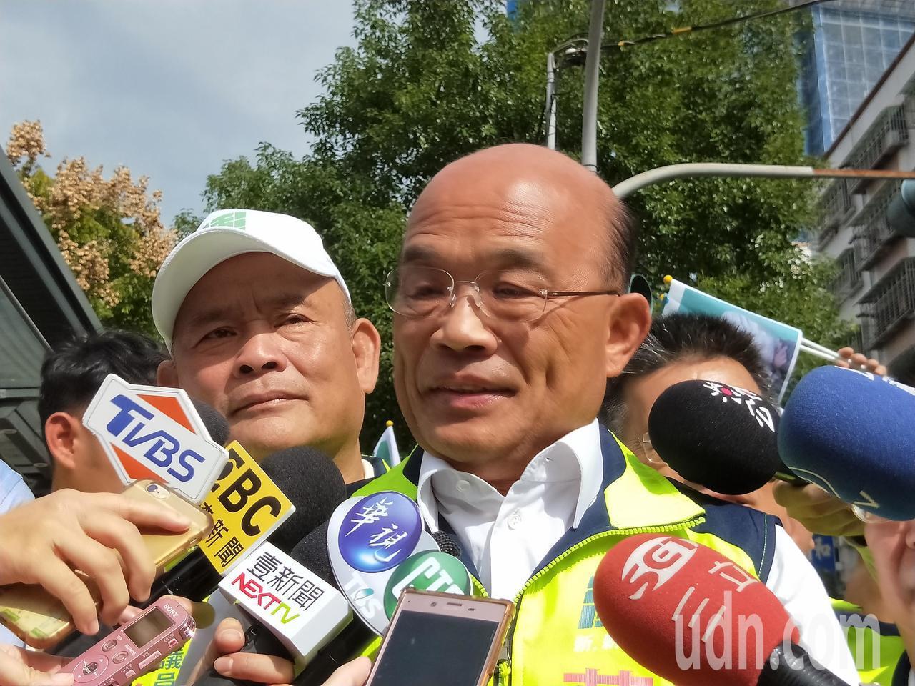 蘇貞昌批國民黨和侯友宜是反動勢力,要求人民以選票制裁。記者施鴻基/攝影