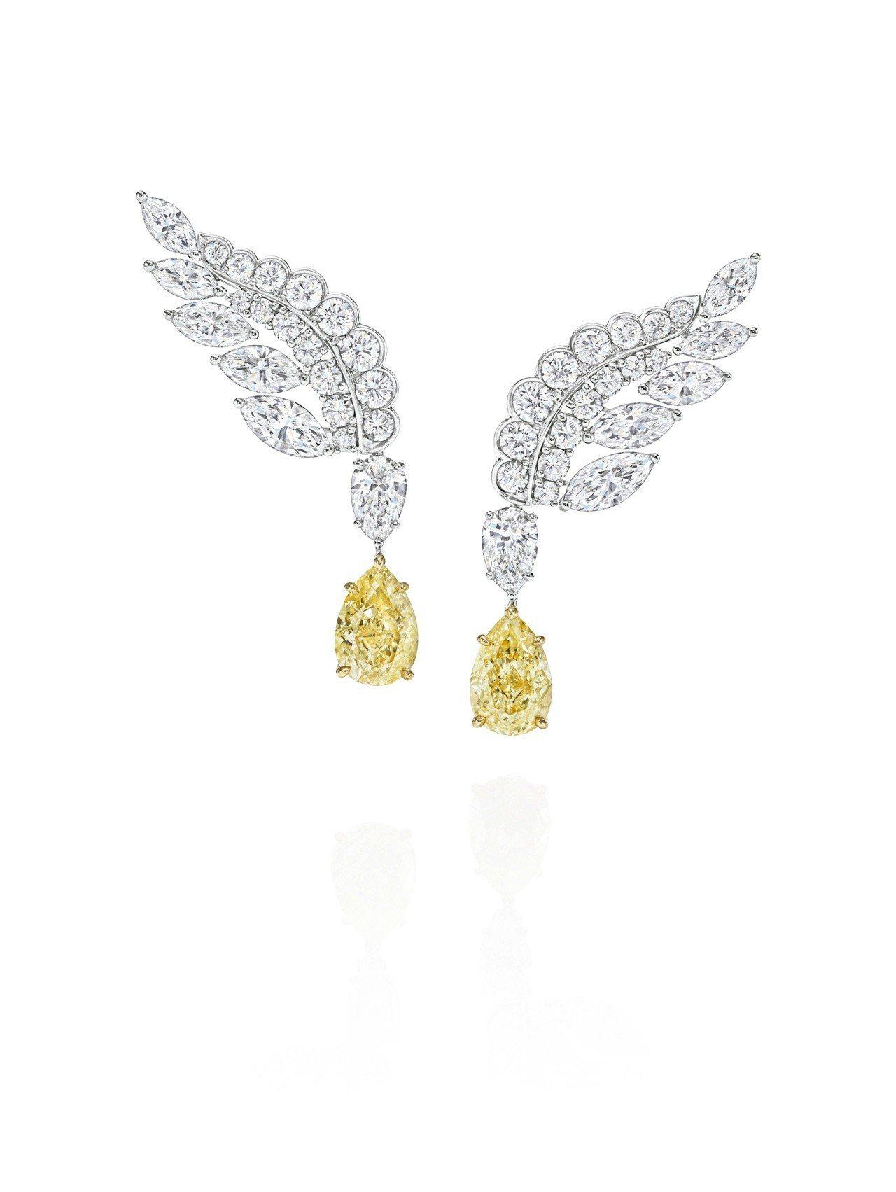 海瑞溫斯頓New York Collection Eagle 黃鑽鑽石耳環,2顆...