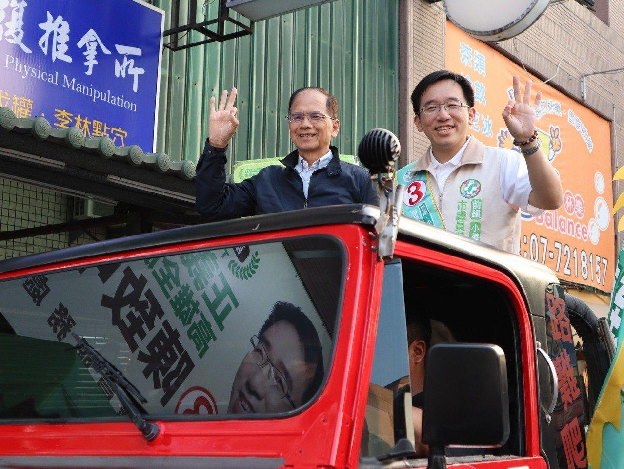 游錫堃(圖左)今天把握選前最後一個周末,南下為高雄市議員候選人陳致中(圖右)站台...