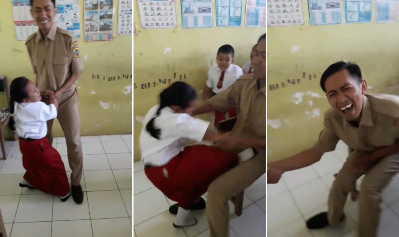 印尼女童害怕打針,滿教室竄逃,狠踢男老師重要部位,逃離老師「魔爪」。圖/擷取Fa...