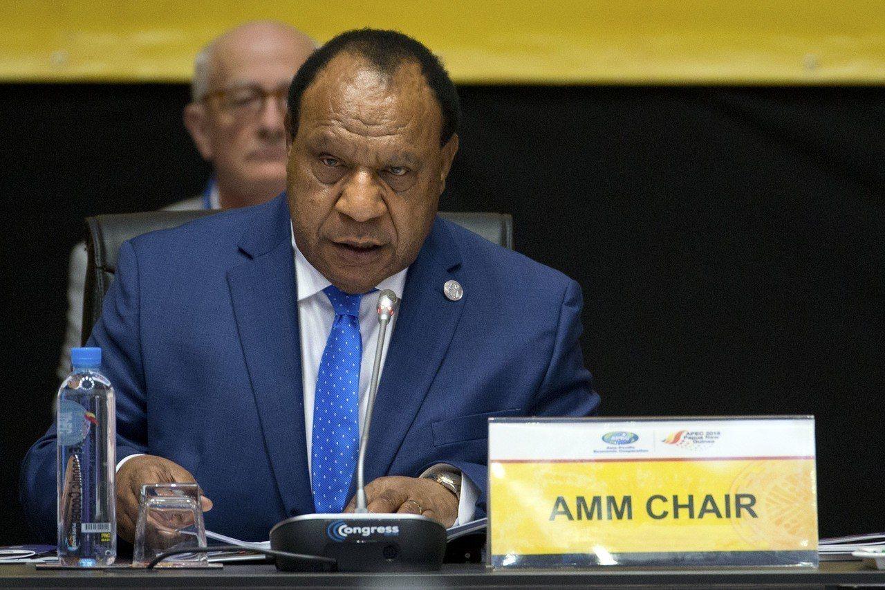 巴紐外長巴托15日在APEC部長會議上發言。(美聯社)