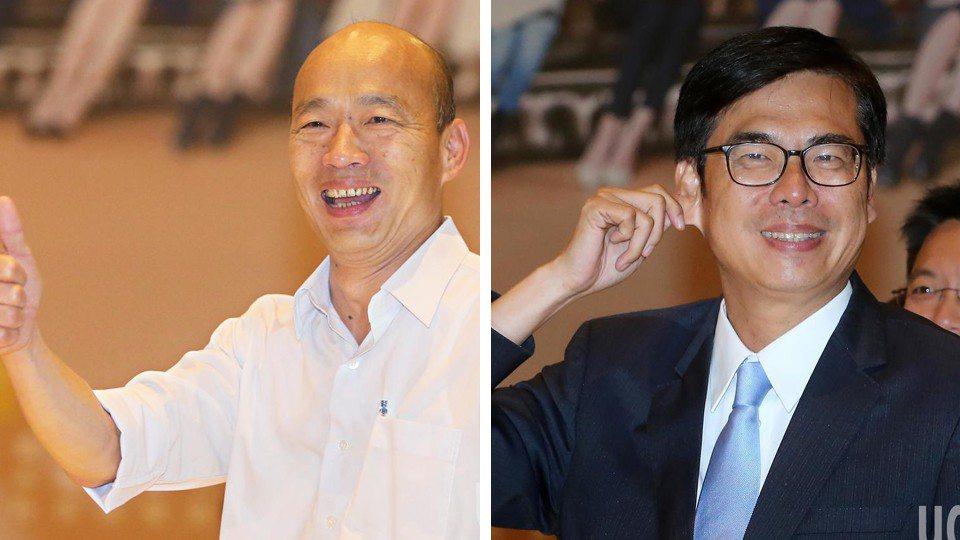 高雄市長辯論今晚登場,陳其邁(圖右)和韓國瑜(圖左)世紀首辯。 記者胡經周/攝影