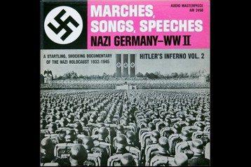 1961年美國Audio FidelityRecords唱 片公司發行納粹德國軍歌集「Marches, Songs, Speeches - Nazi Germany - WW II」黑膠專輯封面。 圖/作者收藏翻拍