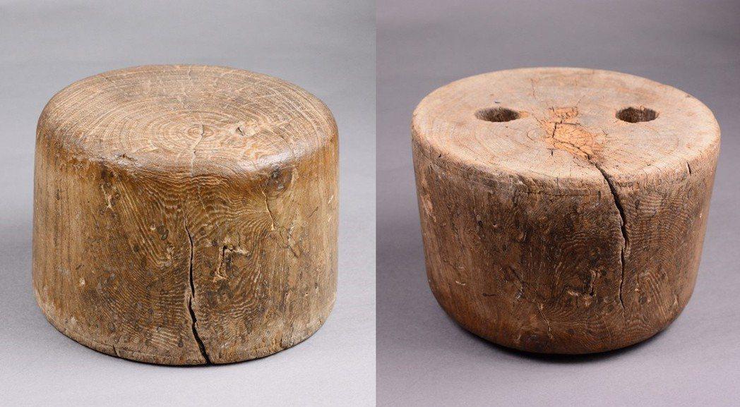 林文旗的父親在船上睡覺用的木枕頭,原是編織草帽用的「帽仔頭」。底部孔洞則是為了方...