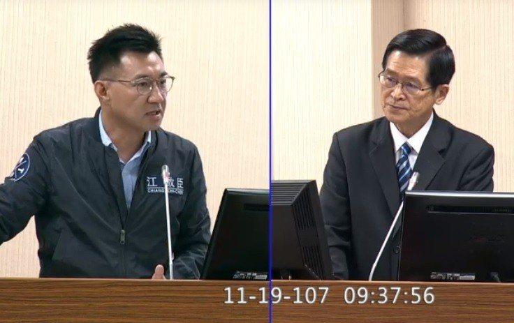 立委江啟臣(左)質疑,國防院被外界質疑是軍中的凱達格蘭學校,且是蔡英文總統假公濟...
