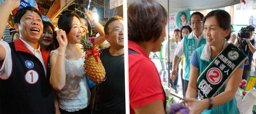 高雄市長選戰戲劇張力極強,不只候選人韓國瑜、陳其邁激烈拚鬥,兩人的妻子也忙著到菜...