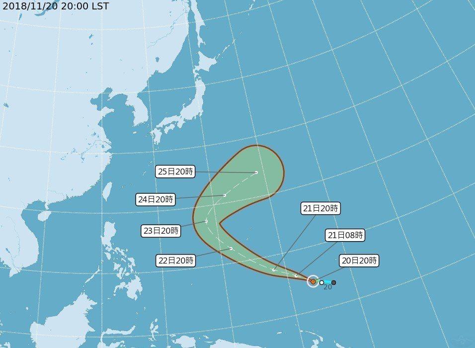 中央氣象局表示,今年第28號颱風萬宜20日晚間形成,但不影響台灣。 圖/中央氣象...