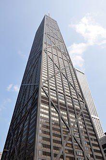 美國芝加哥一棟100樓高的摩天大樓16日驚傳電梯故障,電梯下墜84層樓。截自維基...