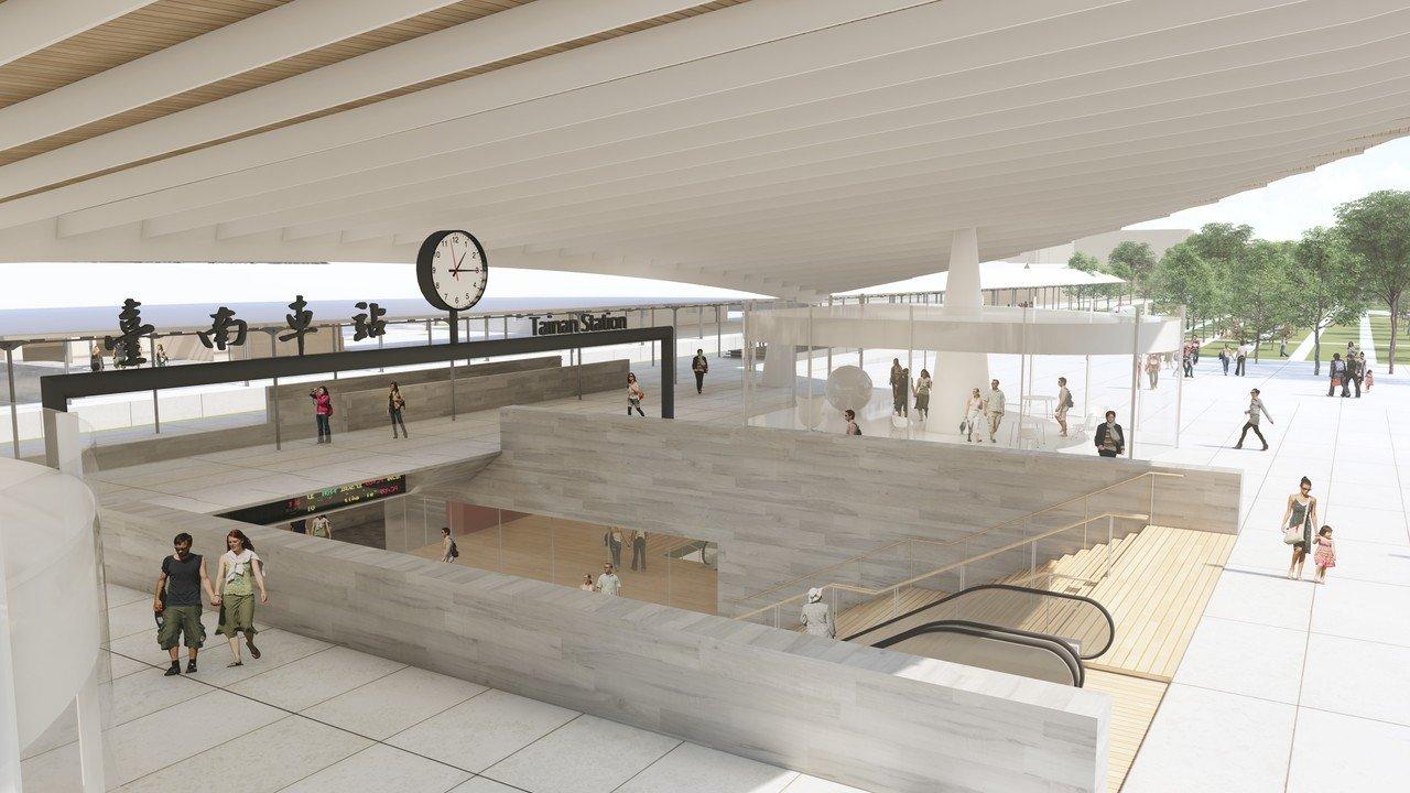 新台南火車站示意圖。圖/台南市都發局提供