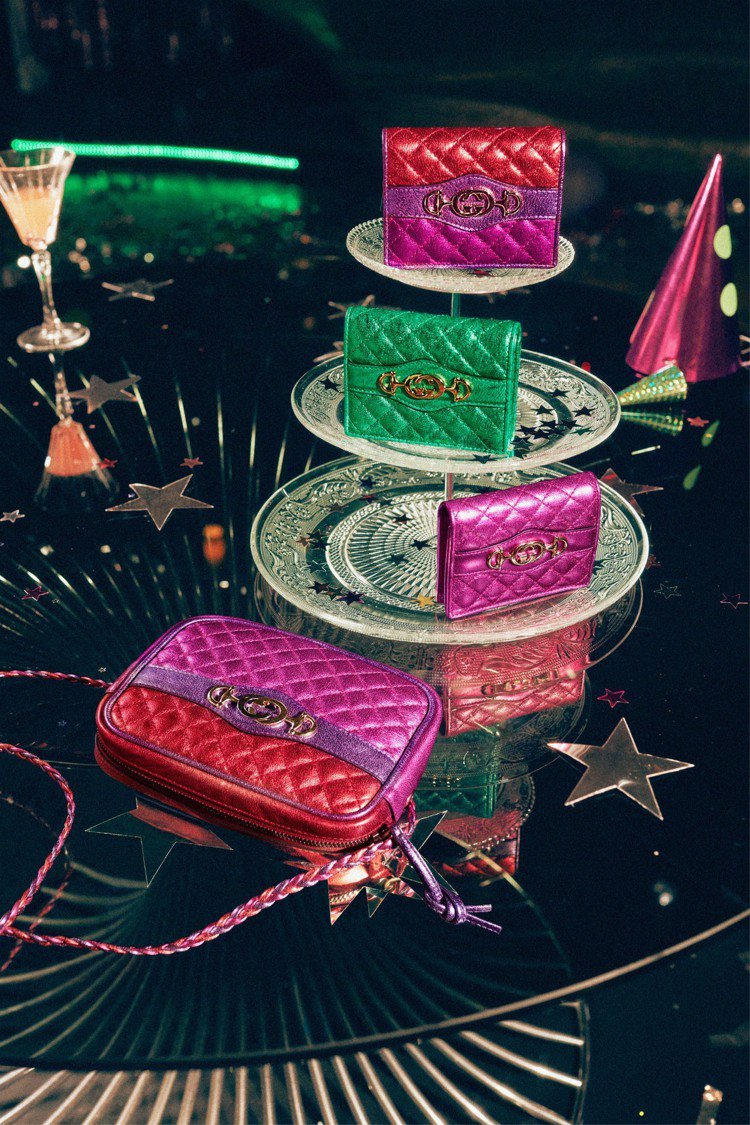 Gucci禮讚系列商品閃爍著耀眼的金屬光澤。圖/Gucci提供