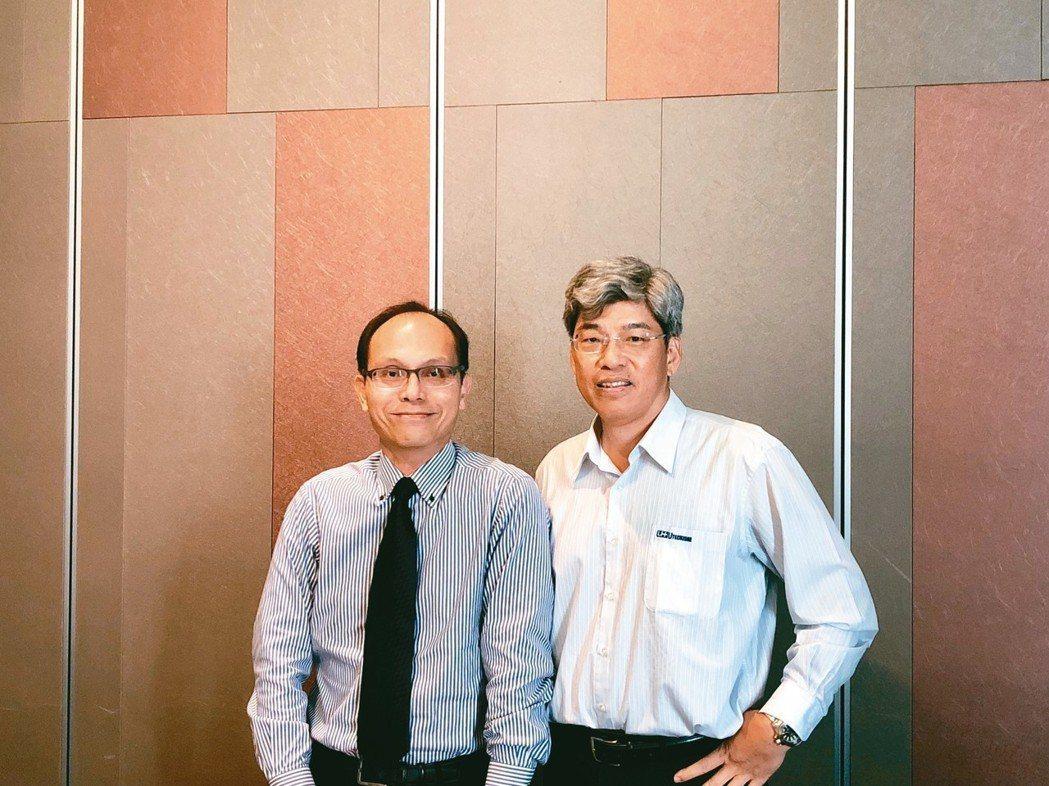 由田新技董事長鄒嘉駿(左)表示,有些先進技術在台灣沒有市場,主要是「土壤」不對的...
