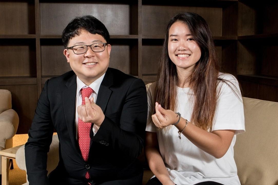 韓國又松大學教授全永秦(左)與助教陳巧芸(右)。