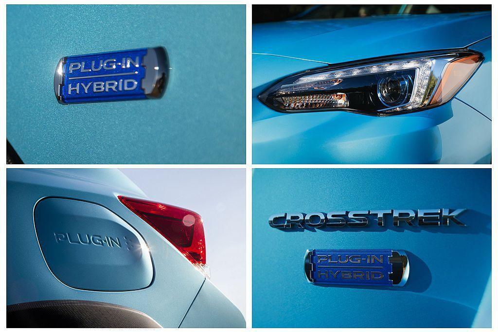 Subaru Crosstrek Hybrid外觀設計具備一些專屬特徵,如頭燈內新增金屬飾條、車側/車尾專屬「Plug-in Hybrid」專屬銘牌以及充電口飾蓋「Plug-In」字樣等。 圖/Subaru提供