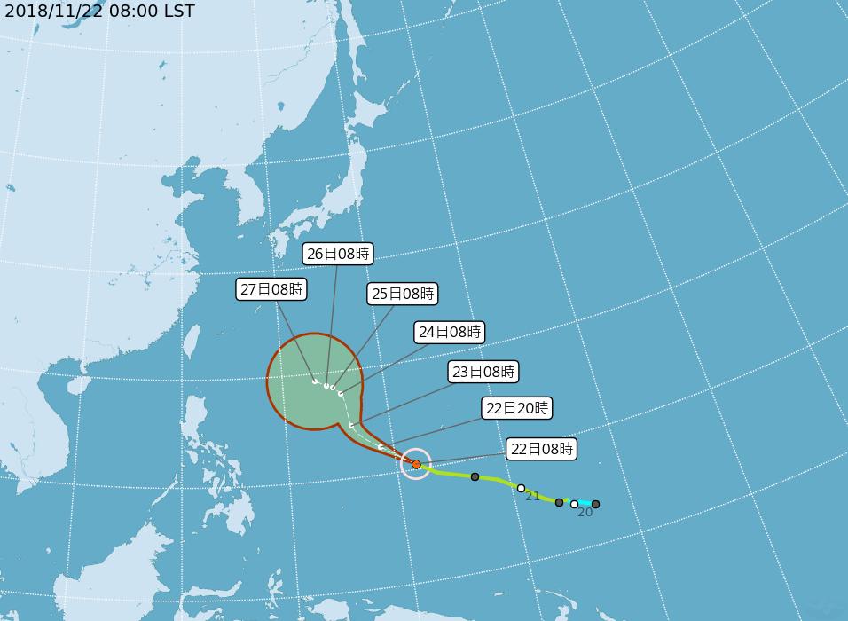 第28號輕度颱風萬宜,持續朝西北西方向移動。圖/翻攝自中央氣象局網站