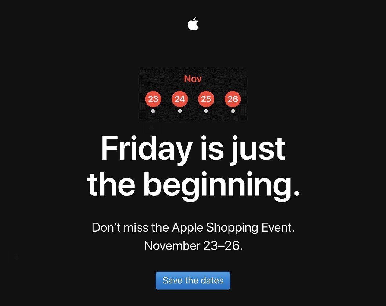 美國蘋果官網也預告即將在11/23至11/26推出購物活動。圖/摘自蘋果官網