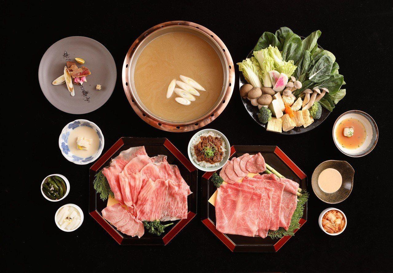 季節限定「雞骨湯底和牛涮涮鍋」。圖/樂軒松阪亭提供