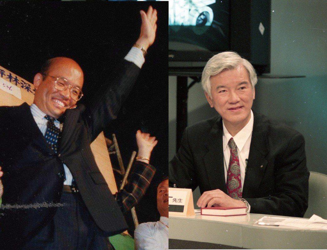 蘇貞昌(左)當年接替罹癌的盧修一(右)參選台北縣長,選前靠盧在造勢晚會上的驚天一...