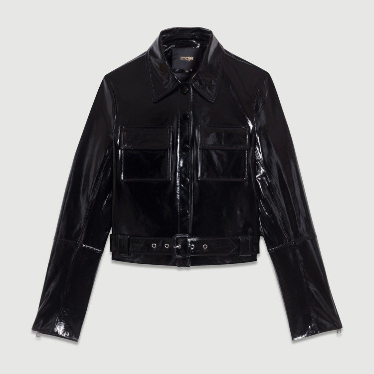 亮皮雙口袋皮夾克,售價18,320元。圖/maje提供