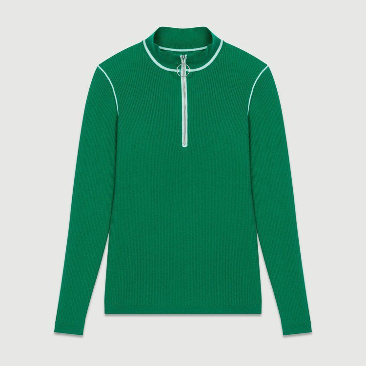 白邊拉鍊綠色針織衫,售價8,120元。圖/maje提供