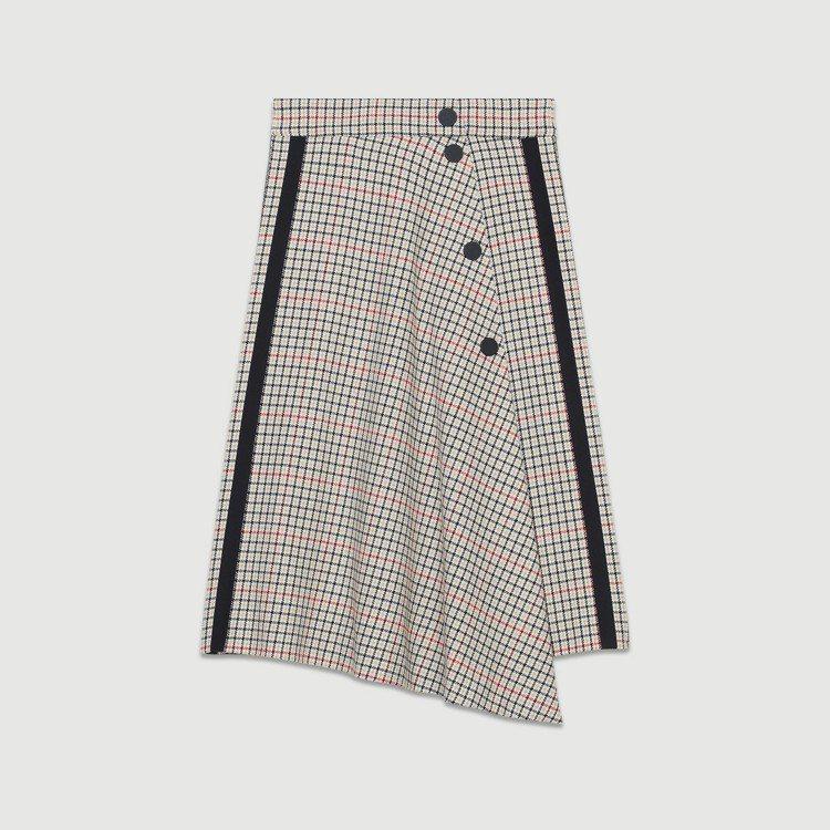 格紋黑邊不規則長裙,售價9,050元。圖/maje提供