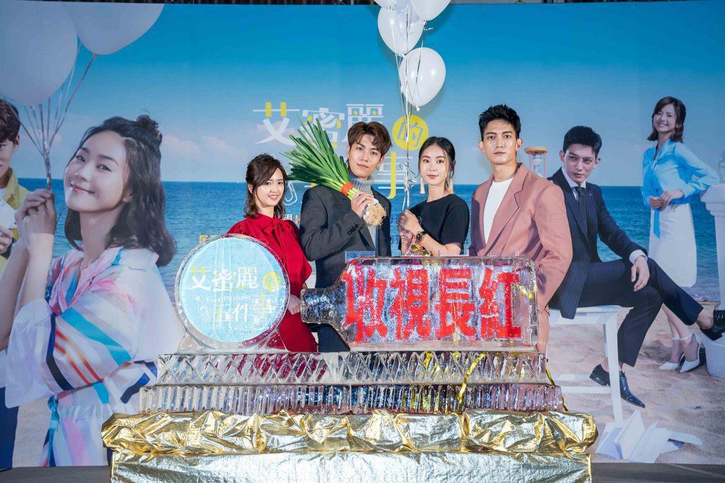 臧芮軒(左)、子閎、鍾瑶、王家梁演出「艾蜜麗的五件事」。圖/東森提供
