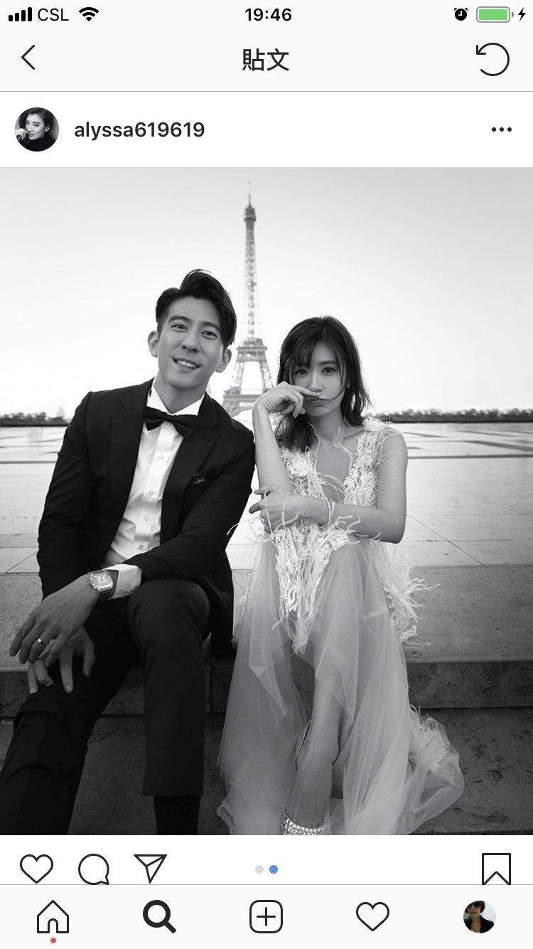 賈靜雯與修杰楷婚紗照曝光,兩人在巴黎鐵塔前合影。圖/取自IG @alyssa61...