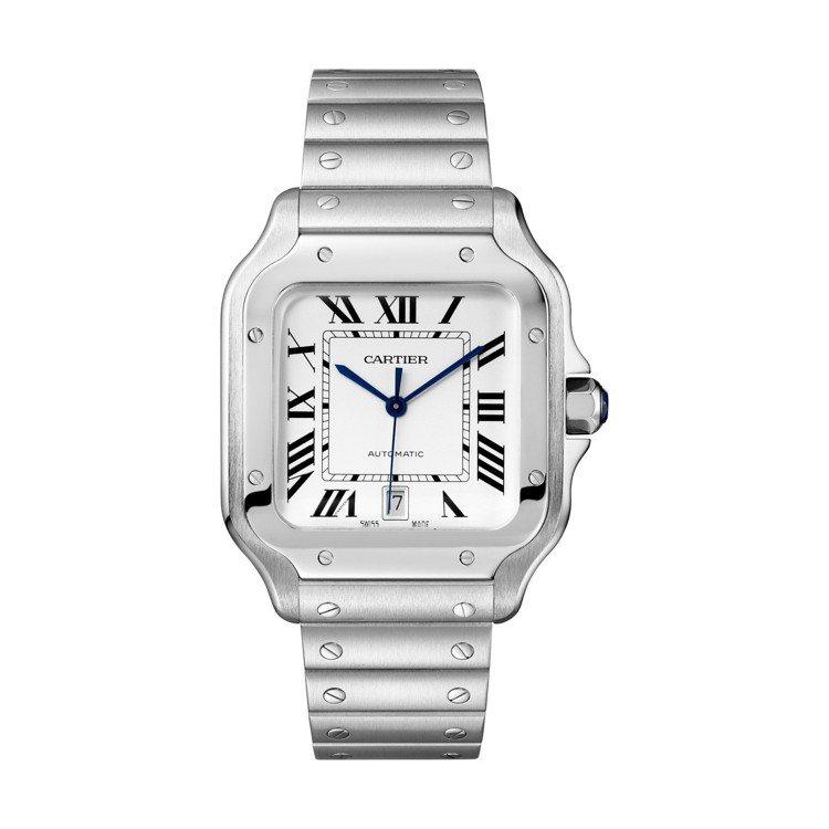 Santos de Cartier精鋼腕表大型款備有日期窗,精鋼表殼搭配Quic...