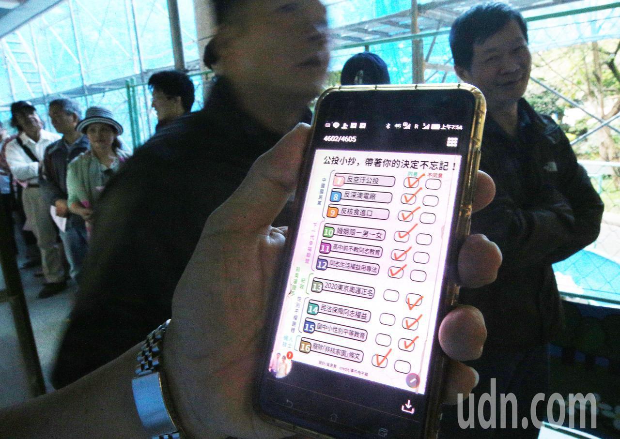 九合一選舉與10案公投上午開始投票,由於公投案有十案,民眾在排隊時看看手機內公投...