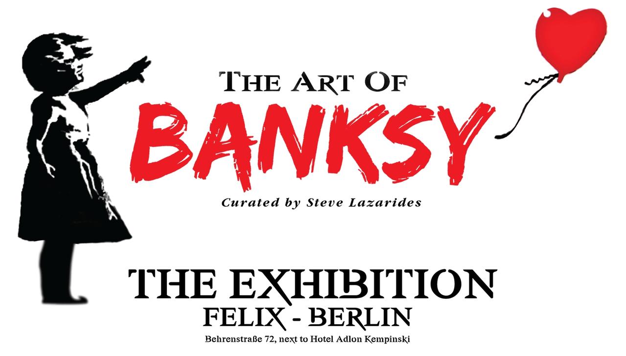 班克西作品展在柏林展出的宣傳海報。取自班克西作品展官網
