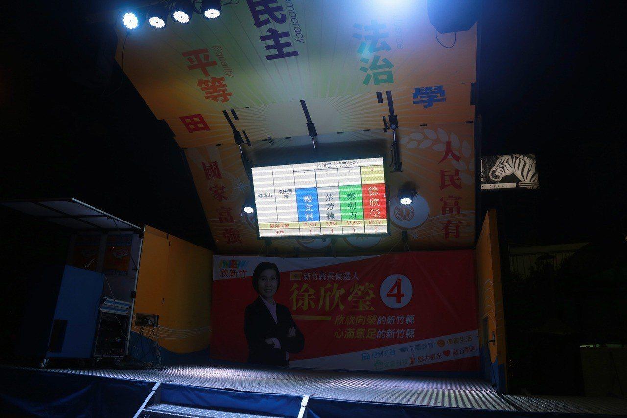 徐欣瑩的競選總部外搭有舞台車,持續更新開票情形。記者郭宣彣/攝影