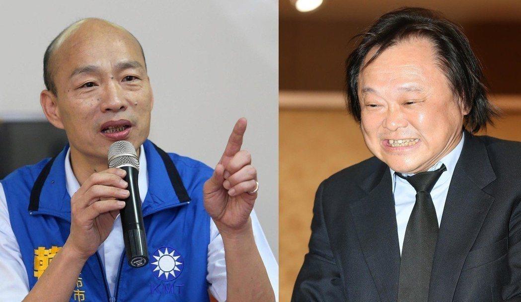 台北市議員王世堅(右)選前披露韓國瑜當選高雄市長他就跳海,當選市長的韓國瑜(左)...