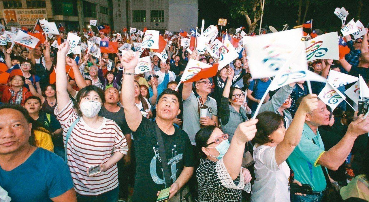 國民黨高雄市長當選人韓國瑜競選總部外聚集眾多支持者歡呼。韓流效應反映民心思變,也...