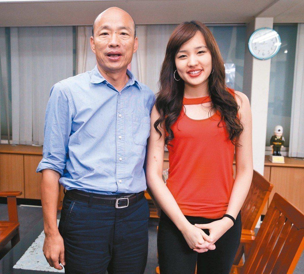 高雄市長當選人韓國瑜(左)勝選,大女兒韓冰(右)功不可沒。 記者劉學聖/攝影