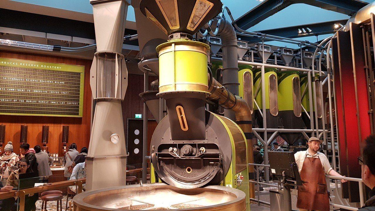 大型的烘豆機,顯示出店面是旗下最高等級的臻選咖啡烘焙工坊(Reserve Roa...