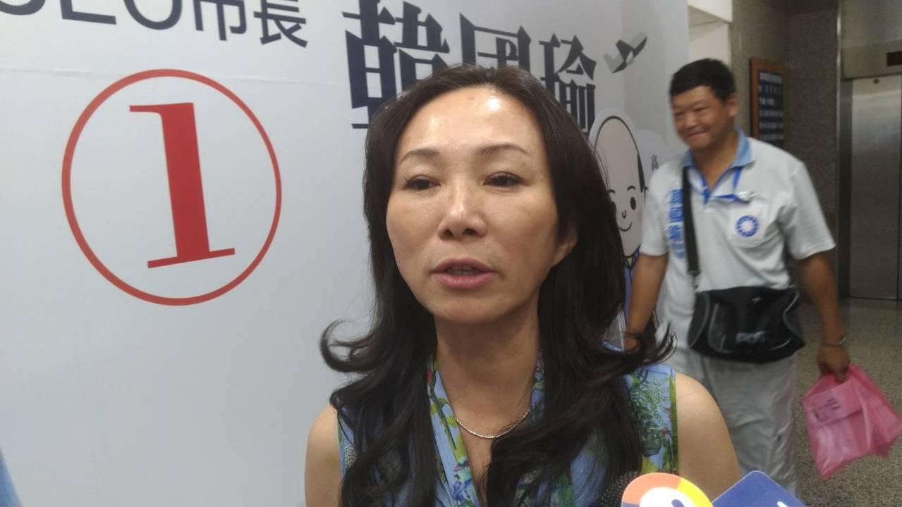 國民黨高市長候選人韓國瑜妻子李佳芬說,韓國瑜現在最需要休息。記者蔡孟妤/攝影