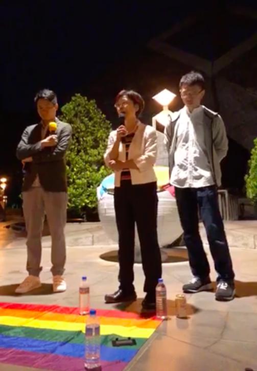 民進黨立委尤美女(中),對支持婚姻平權民眾喊話。圖/翻攝自尤美女臉書