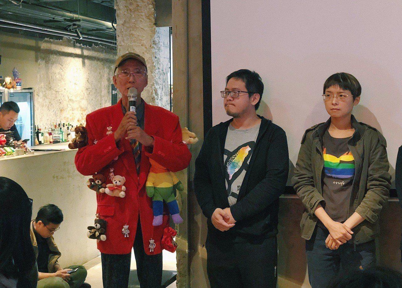 總統文化獎得主祁家威(左一),認為台灣挺同比例已遠遠超過同志的人口比例。圖/婚姻...