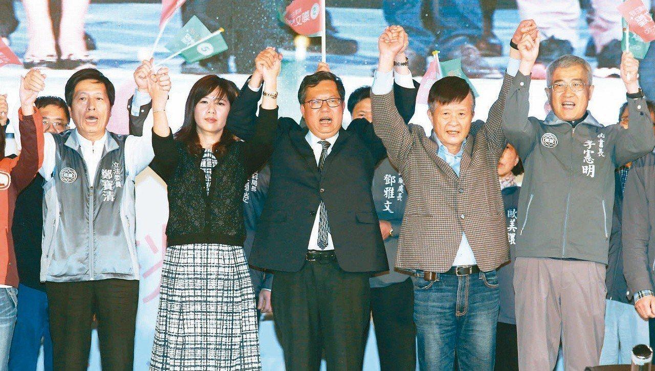 由於民進黨在選舉中大敗,桃園市長鄭文燦(中)昨連任成功。記者鄭超文/攝影