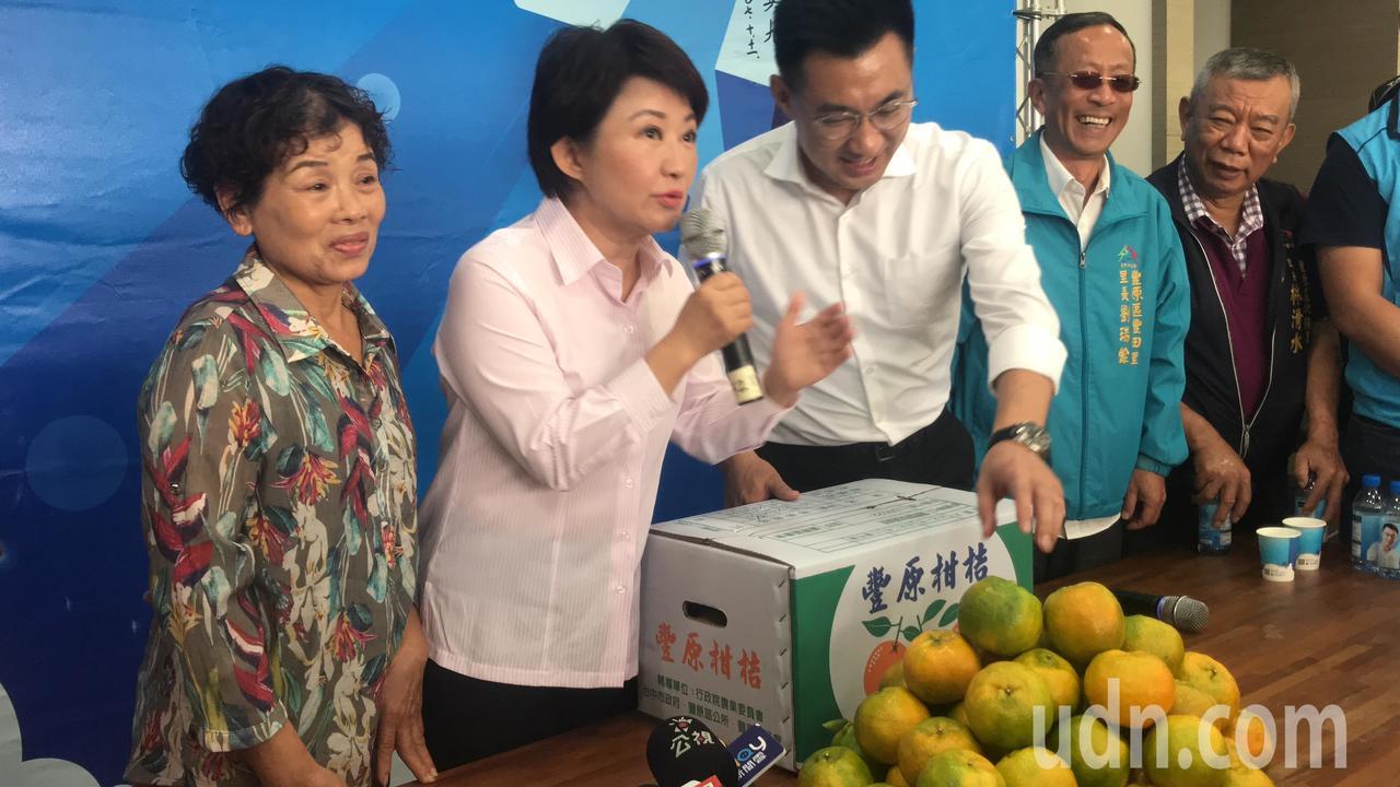 台中市長當選人盧秀燕(中)說,國民黨改革進行中。記者陳秋雲/攝影