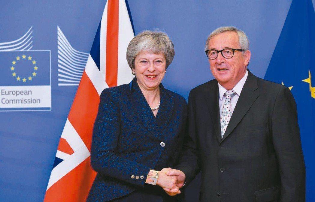 英國首相梅伊(左)在歐盟總部與執委會主席容克爾(右)握手致意。歐盟25日舉行峰會...