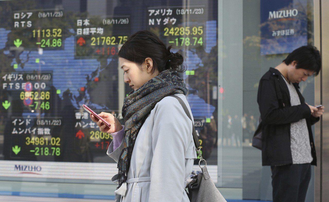 日本股市今天收高。 美聯社