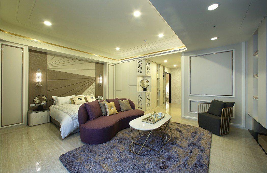 整層主臥以流暢的動線串聯睡寢區、更衣室與主衛。圖片提供/瀚豐泰建設