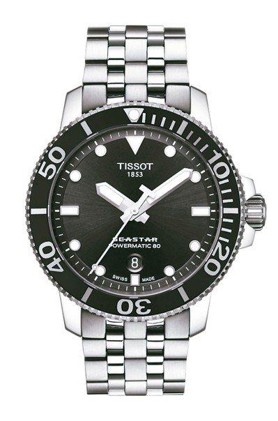 天梭Seastar 1000系列自動款潛水腕表,不鏽鋼表殼搭配陶瓷表圈、不鏽鋼表...