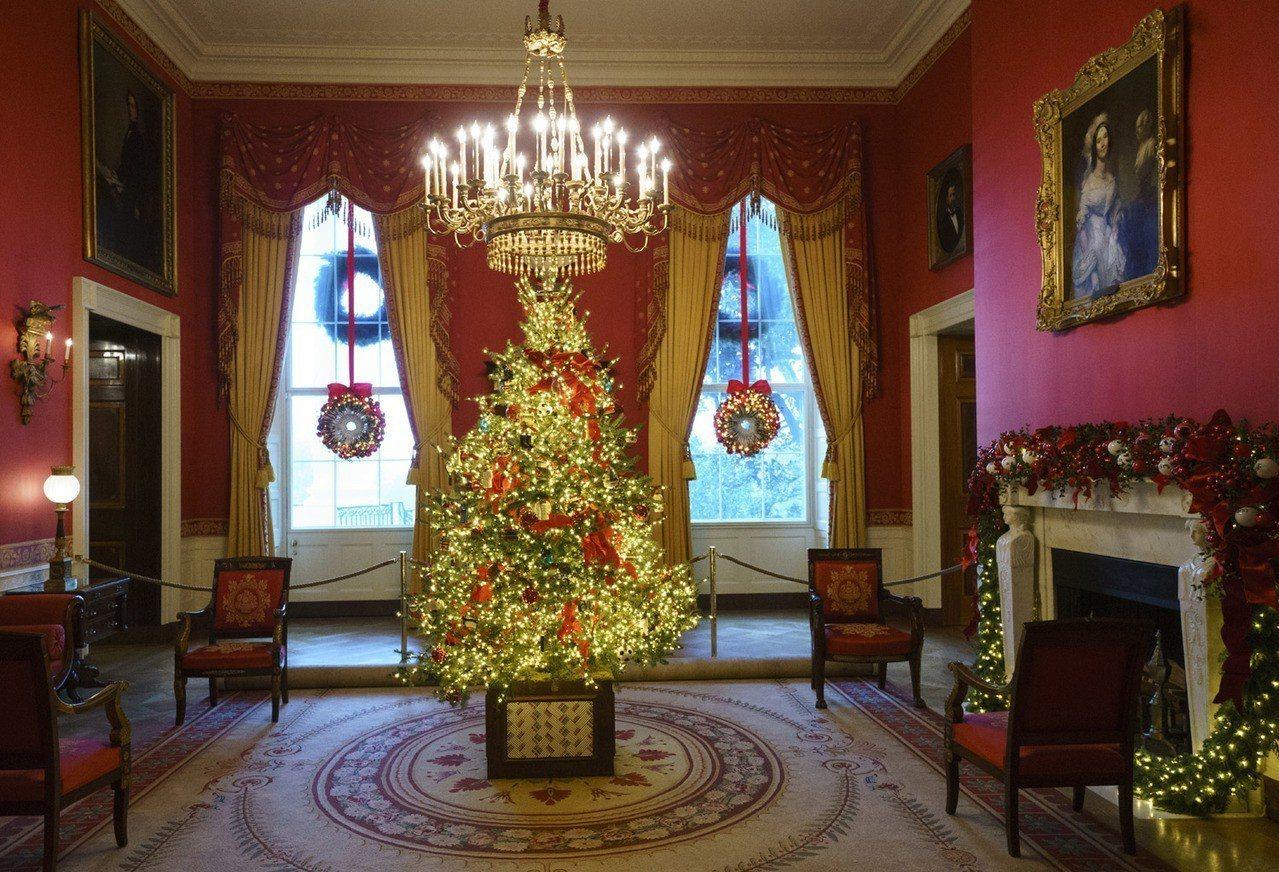 紅廳的耶誕樹。 美聯社