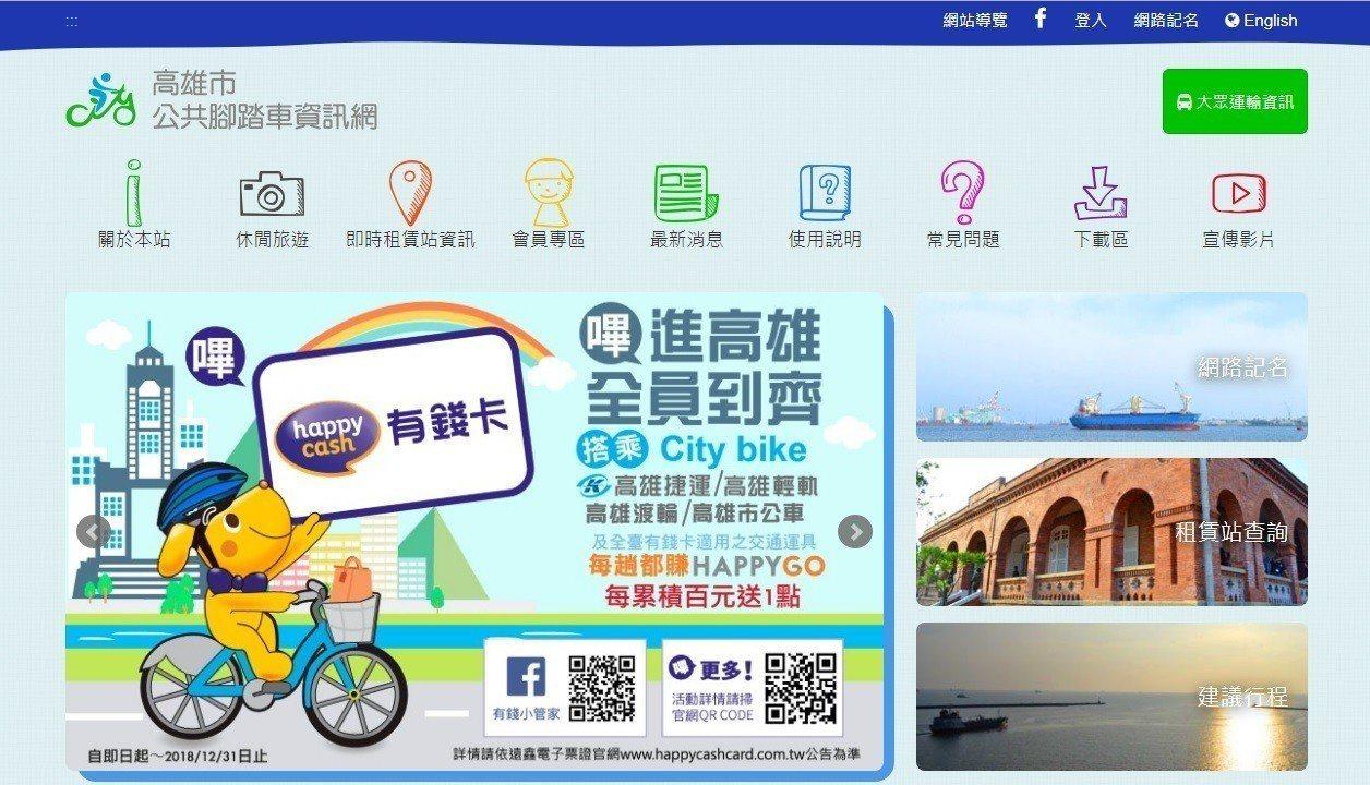 高雄市公共腳踏車租借擴大服務,繼先前開放使用的一卡通、遠鑫卡,再開放悠遊卡、愛金...