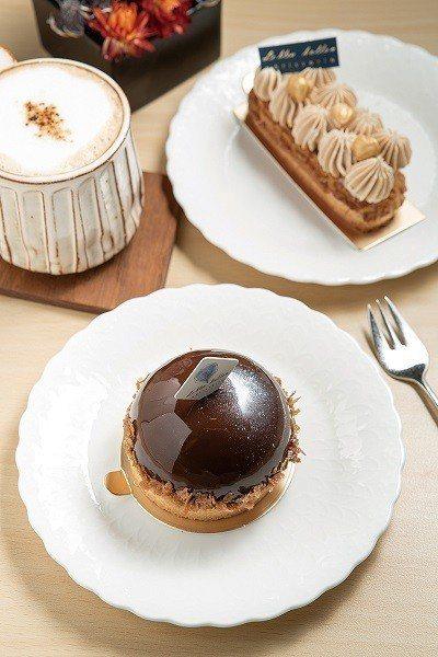 海鹽巧克力芬芬塔170元(前)/使用70%黑巧克力慕斯,口味濃郁。榛心焦朋友16...