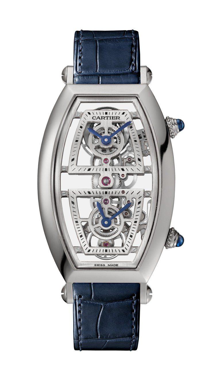 卡地亞Tonneau系列雙時區鏤空腕表,鉑金表殼,搭載9919 MC型工作坊機芯...