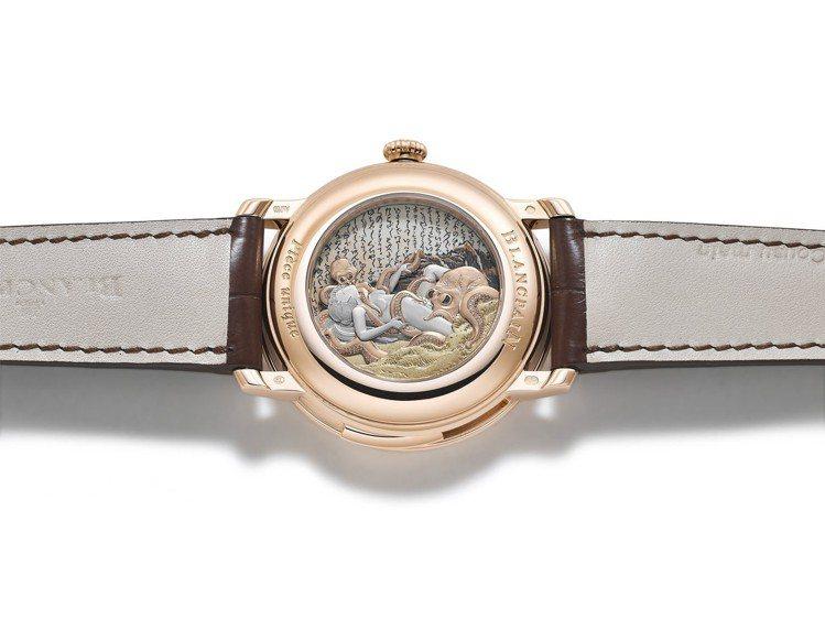 寶珀Villeret藝術大師系列珐瑯微繪三問春宮腕表,表背上裝飾了經典浮世繪《章...
