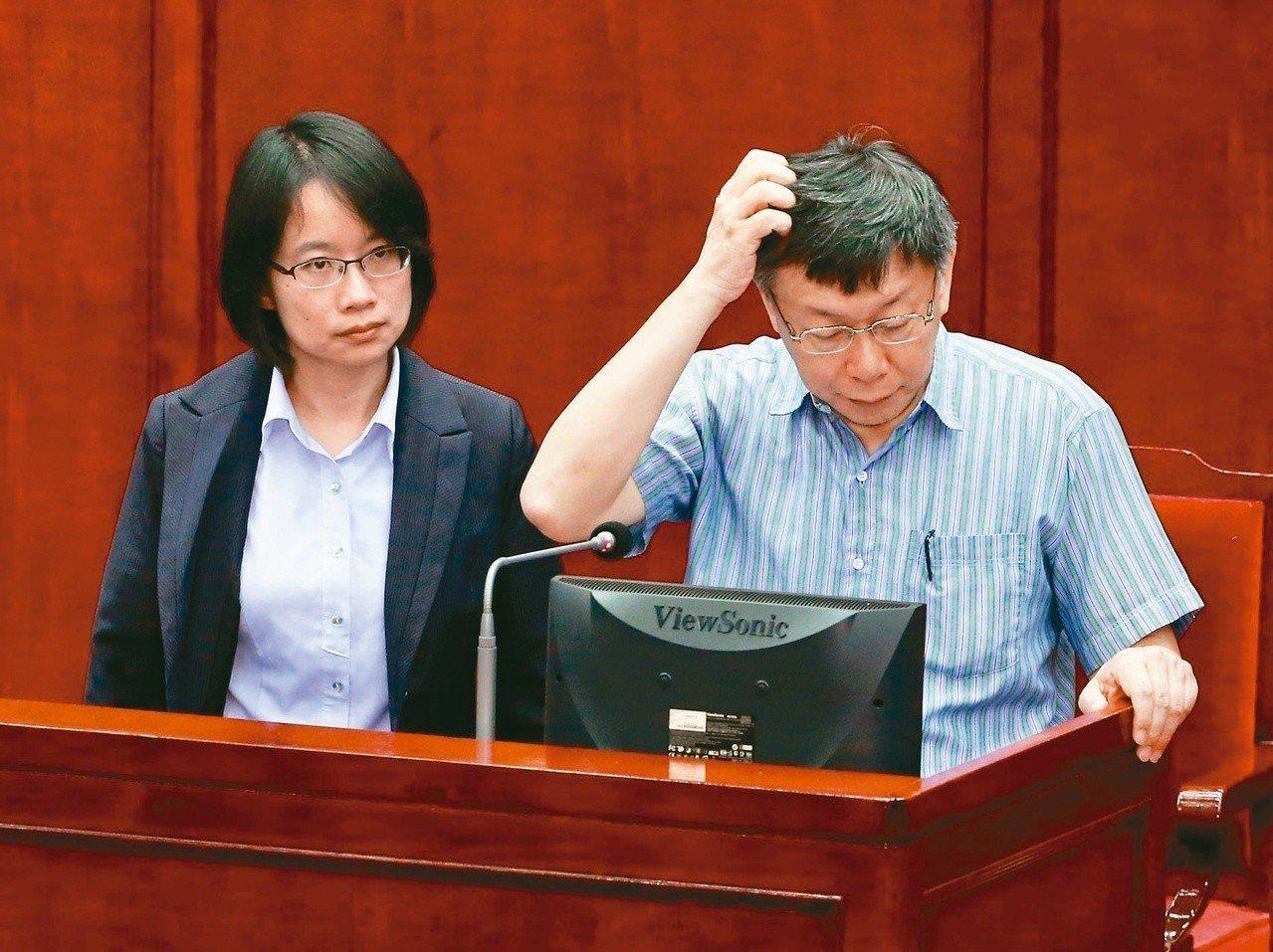 北農總經理吳音寧(左)、台北市長柯文哲(右)一起在市議會答詢。圖/本報系資料照