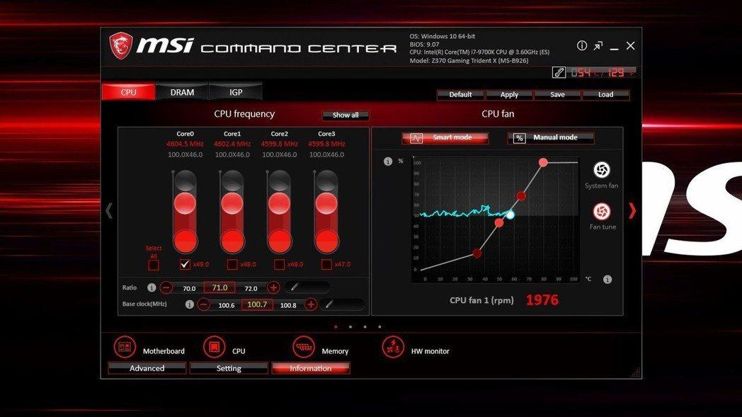 導入微星主板所用的Command Center監控程式,超頻操之在手。 彭子豪/...